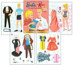 1962 Barbie and Ken Vintage Paper Dolls  - Reproduction