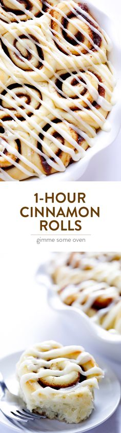 These are my all-time FAVORITE cinnamon rolls!  They're surprisingly easy to make, topped with a cream cheese frosting, and absolutely delicious.   gimmesomeoven.com