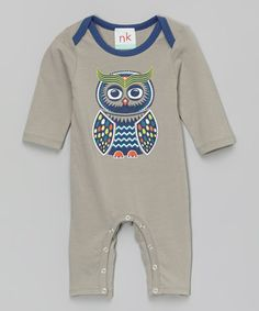 Look at this #zulilyfind! Gray Owl Playsuit - Infant by nktoo by Nohi Kids #zulilyfinds
