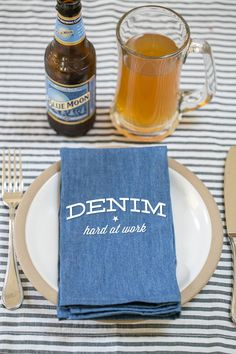 DIY Denim Napkins | Sugar & Charm