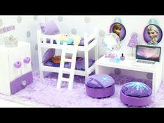 DIY Miniature Dollhouse - FROZEN Anna & Elsa Bedroom (NOT A KIT!) - YouTube