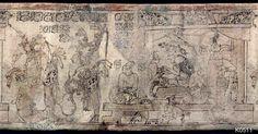 Description in comments below. Perhaps a representation of an underworld scene, or  a real-life ritual scene mimicking the underworld of Xibalba.