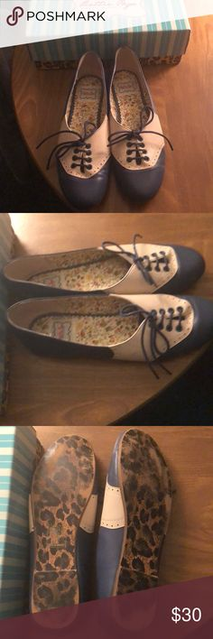 Lace up flats - size 10 Blue and white flats. Good preowned condition. bettie page by ellie Shoes Flats & Loafers