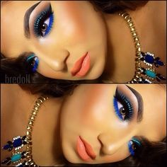 Not normally a fan of 'orange' lips but it works so well in this look. Love the blue eyeliner!