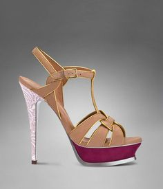 YSL Tribute High Heel In Wheat Suede, Cerise Lace Heel, Golden Leather Piping And Cerise Platform