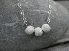 Stardust 6mm Beads Sterling Silver Necklace by ESDesigns14 on Etsy, $18.00