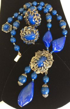 Striking Vintage Miriam Haskell Necklace Earring SetBlue Faux
