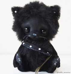 Made to order  Blackie the Cat  artist ooak teddy cat 5.5