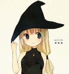 A distracted blonde in a witch hat and blonde twintails plays with said hat.