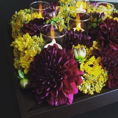 #C2Mdesigns #floral #floraldesign #centerpiece #shadowbox #frame #dahlia #yarrow #poms #burgundy #gold #event #corporateevents #texture #style #fall #seasonal #LED #votive #instagood #designsthatrock Designer: #christinemccaffery