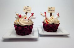 Cupcakes for an orthopedic surgeon,  chocolate  filled and drizzled with caramel. I broke some sugar bones in half and dipped in red piping gel.  The signs are Quickutz cutouts labeled with appropriate sayings. Pipettes are filled with Buffalo Trace bourbon cream.