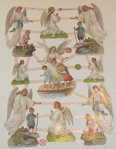 Newer German Victorian Guardian Angels children die cuts diecuts scraps embellishments sheet ef 7363