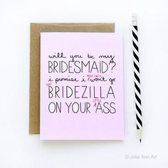 'Will you be my bridesmaid?' bridezilla card. | The Ultimate List of Bridesmaid Proposal Ideas - 25 Creative Ways to ask Your Bridesmaids