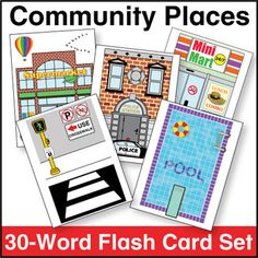 Community Places Flash Card Set from Kinney Brothers Publishing Pre K Curriculum, Community Places, Vocabulary List, Community Helpers, Small Cards, Head Start, Classroom Themes, Esl, Preschool Activities