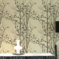 Stunning Birch Forest stencil by Cutting Edge Stencils. Stencils instead of wallpaper, stencil designs for easy decor, stenciling instructions and a complimentary stencil with every order. Tree Stencil For Wall, Bird Stencil, Wall Stencil Patterns, Stencil Painting On Walls, Stencil Designs, Tree Wall, Stenciling, Leaf Stencil, Paint Designs