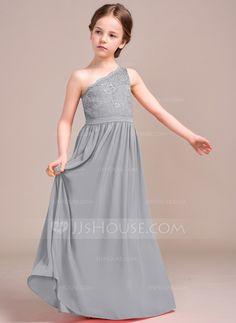 A-Line Princess One-Shoulder Floor-Length Zipper Up Regular Straps  Sleeveless No Watermelon General Chiffon Lace Junior Bridesmaid Dress 7f02d5bb69f8