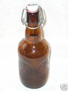 GROLSCH Beer Brewing Brown Glass Bottle Porcelain Tops Raised Lettering