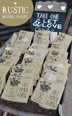 Simple rustic wedding favor idea. Personalized seed packets with bride and grooms names and wedding date!