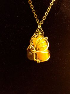 Yellow Seafoam Stone Necklace Wire wrapped stone by LitteredNation, $20.00  New low price!
