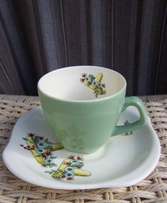 """Beswick """"Mexican Madness"""" cup and saucer - 1950s vintage retro by ArthursVintageHouse on Etsy https://www.etsy.com/listing/227849281/beswick-mexican-madness-cup-and-saucer"""