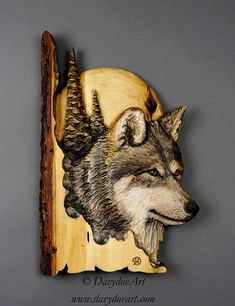 Wolf Carved on Wood Wood Carving with Bark Hand Made Gift Wall Hanging for the Wolves lovers Rustic OOAK Gift for a Hunter Cabin Deco FREE SHIPPING TO CANADA AND THE UNITED STATES For delivery to outside of North America the price is indicated for each country in the SHIPPING section