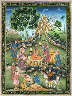 Persian painting--really shows the variety in styles and colors Islamic Paintings, Old Paintings, Miniature Paintings, Persian Motifs, Iranian Art, Historical Art, Arabian Nights, Ottoman, Illuminated Manuscript