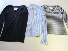 Abercrombie & Fitch Shirts M Medium Lot 3 LS Long Sleeve Blue Gray Girls #AbercrombieFitch