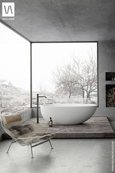 a gorgeous grey bathroom done with concrete, with glazed walls, a fireplace and a tub on a platform - DigsDigs Taupe Bathroom, Bathroom Spa, Bathroom Interior, Modern Bathroom, Grey Bathrooms Designs, Minimalist Baths, Glazed Walls, Bathtub Remodel, Tadelakt