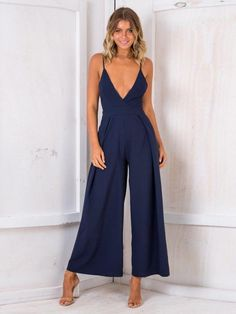 70e57201ecc Sexy Spaghetti Strap Solid Color Wide Leg Pants Jumpsuit Rompers. Sexy Deep  V-Neck 2018 New Summer Fashion Women Jumpsuits ...