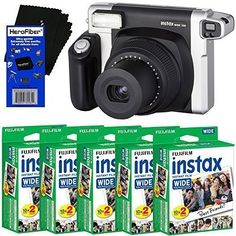Buy Fujifilm INSTAX 300 Wide-Format Instant Photo Film Camera (Black/Silver) + Fujifilm instax Wide Instant Film, Twin Pack sheets) + HeroFiber® Ultra Gentle Cleaning Cloth at Wish - Shopping Made Fun Instax Wide Film, Instax Wide 300, Fujifilm Instax Wide, Instax Camera, Instax 210, Polaroid Camera, Camera Gear, Film Photography Project, Photography Supplies