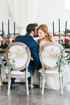 Mr. and Mrs. chairs at The Greystone Estate