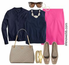 Plus Size Spring Work Outfit Idea from a Plus Size Spring Work Capsule Wardrobe with a Hot Pink Magenta Skirt and a Navy Twinset with a Navy Cardigan - Alexa Webb Plus Size Spring Work Outfits, Capsule Wardrobe Work, Plus Size Work, Navy Cardigan, Work Wear, Hot Pink, How To Wear, Outfit Work, Work Attire