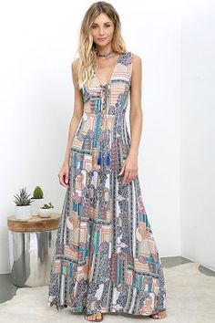 e906533865558f You'll be instant Boho royalty in the Relinquish My Title Peach Print  Lace-Up Maxi Dress! Sleeveless, darted bodice has a lace-up front (with  tasseled ties) ...