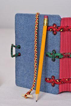 Jeans covered journal Hira Kara Fire-Emerald 4x6 от BlockOfNotes2
