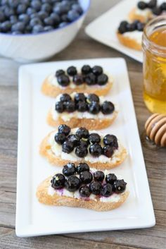 Roasted Blueberry Ricotta Crostini from Two Peas and Their Pod