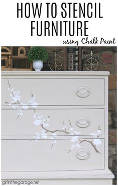 Learn how to stencil furniture and decor with Chalk Paint for gorgeous results. Painted furniture ideas by Girl in the Garage Using Chalk Paint, Chalk Paint Colors, White Chalk Paint, Paint Furniture, Furniture Makeover, Furniture Ideas, Annie Sloan Chalk Paint Projects, Stenciled Table, Painted Books