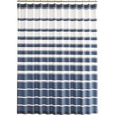 hampton bluewhite striped shower curtain crate and barrel