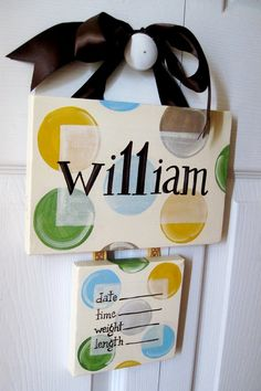 hospital baby door hanger for boy | Door hanger for the hospital---maybe? | Things to make in my spare ...