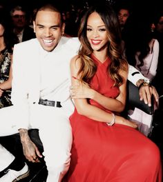 Chris Brown and Rihanna at the Grammy Awards 2013