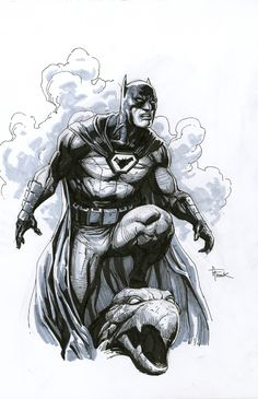FS Batman on rooftop by Gary Frank - Original Comic Art - W.B.