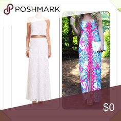 """Lilly Pulizer Angela Maxi Dress D10-The Angela structured maxi dress is stunning summer look. This sweetheart neckline maxi will wow a crowd with the bold print and structured fit. Worn once-excellent condition. Flat acrops @ bust: 13.5"""", top to bottom hem: 46"""". Lilly Pulitzer Dresses Maxi"""