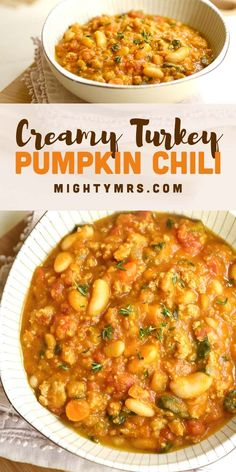 This creamy turkey pumpkin chili is scrape-the-bowl-clean good. Easy to whip up, perfect if you're in need of some healthy comfort food on a chilly days. Ww Recipes, Dinner Recipes, Cooking Recipes, Healthy Recipes, Pumpkin Chili, Pumpkin Puree, Healthy Comfort Food, Comfort Foods, Healthy Food