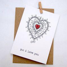 'P.s. I Love You' Button Box Card