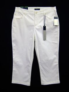 BANDOLINO JEANS White Mandie Capri Stretch Pants Crop Womens Size 8 NEW w Tags #BandolinoJeans #CaprisCropped