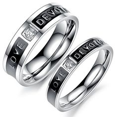 Couples Matching Rings - Two Tone 'Love Devotion' Engraved Black IP Stainless Steel Ring - Sizes 5-8 and 9-12 (5) Artisan Owl http://www.amazon.com/dp/B018495PPI/ref=cm_sw_r_pi_dp_lQ6Nwb1KJC59N