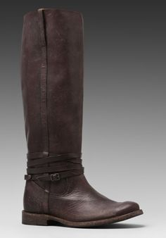 FRYE Shirley Riding Plate Boot in Dark Brown