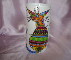 Multicolour cat hand-painted mugs by KvitkaMargarita on Etsy