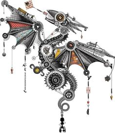 "menagerie of mechanical animals Mechanical dragon illustration by Diego Mazzeo, ""Vuelo Mecánico""Mechanical dragon illustration by Diego Mazzeo, ""Vuelo Mecánico"" Steampunk Drawing, Steampunk Design, Steampunk Illustration, Illustration Art, Animal Drawings, Cool Drawings, G Dragon, Steampunk Animals, Tattoos"