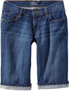 Women's Cuffed Denim Bermudas: I always try these on and they ALWAYS look like denim bicycle shorts on me. Apparently, no one consulted us athletic built gals  :/