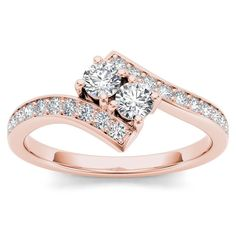 De Couer 14k Rose Gold 1ct TDW Diamond Two-Stone Ring (H-I, I2) (Size-9), Women's, Size: 9, Pink